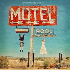 Motel Lovin (Shawn Van Daele) Tags: wedding love photomanipulation vintage square photography groom bride lasvegas grunge rustic motel squareformat neonsign 365 brideandgroom 52weeks 365days shawnvandaele renaissancestudiosphotography