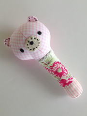 Baby Girl Rattle Plaid (Marci Girl Designs) Tags: sweetlystitchedhandmades amysinibaldi scraps fabric rattle babytoy baby handstitching nanacompany