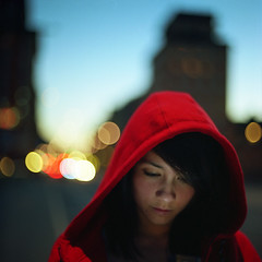 Summer Start (vonSchnauzer) Tags: street city red 120 6x6 film girl skyline mediumformat square asian twilight kodak stockholm bokeh vincent cheeks cape hood bang graflex rosy 160nc norita noritar vonschnauzer
