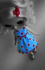 still got the blues (kylie2good) Tags: red baby aqua doll dress handmade turquoise babydoll blythe saffy primadolly fritzybitz
