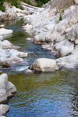 Baignade dans le Gardon près d'Anduze dans le Gard (Cévennes)