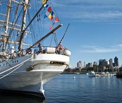 The Eagle and The Boston Skyline (jcbwalsh) Tags: coastguard boston yard ma eagle massachusetts navy charlestown tallships barque uscg sailboston