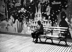 the old man and the sea. (solecism) Tags: blackandwhite bw bench coneyisland aquarium mural boardwalk marinelife newyorkaquarium shoesandsocks hesitswiththefishes
