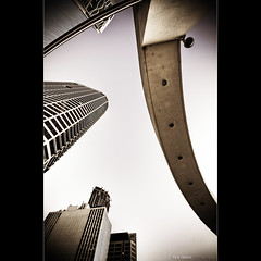 A spaceship landing in Bisbane City, at dawn. ([ Kane ]) Tags: urban lines buildings dawn cityscape shapes australia brisbane qld queensland kane hdr brisbanecity 10mm gledhill 50d kanegledhill kanegledhillphotography