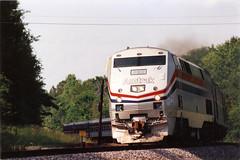 Amtrak Genesis Locomotive #828 Southbound Near Ellisville, Mississippi in May of 1994 (bluerim) Tags: railroad mississippi crescent 828 amtrak locomotive ge passengertrain genesislocomotive p40dc ellisvillems railsacrossdixie
