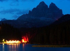 A calm summer night on the lake and mountains behind (Robyn Hooz) Tags: lake canon lago hotel 18 50 ef misurina trecime dreizinnen lavaredo mywinners 1000d