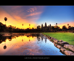 The Colourful Cambodia Sunrise, Angkor Wat :: HDR (Artie | Photography :: I'm a lazy boy :)) Tags: reflection building classic water stone architecture photoshop sunrise canon temple dawn ancient sandstone bravo cambodia khmer state cs2 tripod wideangle angkorwat structure explore 1020mm siemreap frontpage hdr artie angkorvat 12thcentury 3xp sigmalens photomatix tonemapping tonemap 400d rebelxti suryavaman