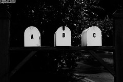 ... As Easy as 1 2 3 (jeff_golden) Tags: bw contrast highcontrast mailboxes 1755f28is niksilverefexpro photoaday2009