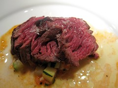 prelude to staplehouse - hanger steak with zucchini, heirloom tomatoes, brown butter, bacon, & thyme jus