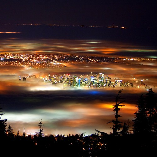 Vancouver at Night (Vancouver in Fog) by flynnkc.