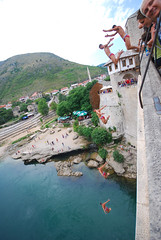 Bridge jumping sequence (faceymcface1) Tags: old bridge red jump jumping mostar bosnia most sequence speedos stari hercegovina
