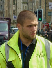Security guy (GusRoman) Tags: buzz edinburgh security crop buzzcut hiviz