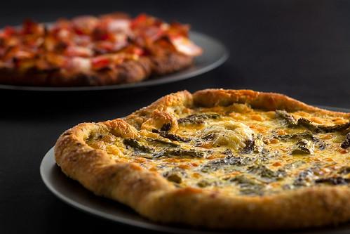 Tomato Bacon and Asparagus Pizzettas