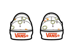 Vans with textile pattern (back view)