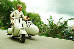 Getting hitched in style. (Ronnie Gavelin) Tags: wedding groom bride vespa scooter