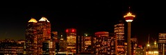 City Nights (Witty nickname) Tags: city panorama calgary night buildings lights crane pano panoramic cranes alberta nikond80