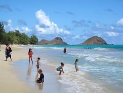Bellows AFB, Oahu, HI (Hawaiian beach) Tags: ocean blue sun playing beach clouds hawaii sand oahu bellows afb