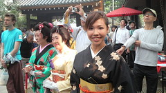 Kimono-clad women often show up at the festivals