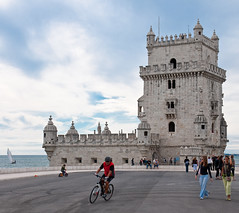 Belem Tower - Lisboa (Ferdi's - World) Tags: bridge castle portugal sailboat geotagged belem biker lissabon ferdi djoser belemtower spainportugal ferdisworld summerholiday2009 geo:lat=38691933 geo:lon=9214598