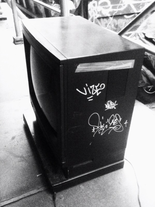 even the tv's on the streets get tagged on Wooster st