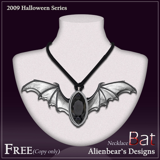 2009 halloween gift bat necklace