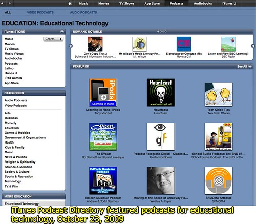 iTunes Podcast Directory featured podcasts for educational technology, October 23, 2009