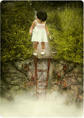 Myterious Pathway... (Naj ( Desired Hopes  )) Tags: baby art girl fog digital photoshop canon painting photography photo interesting artwork looking little path down best follow fave explore photograph adobe mysterious imagination ladder everything dull comments matte reference aan naj cs3 strive najy sx110