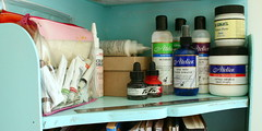 studio shelves (*Karen M Andersen* (Ruby and Violet)) Tags: blue art ink studio paint artist acrylic teal glue fast shelf workspace watercolour medium supplies bookcase atelier retarder