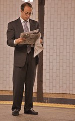 I went to Harvard, and I make megabucks on Wall Street. So what am I doing in this stupid subway station? And why am I reading the New York Post? (Ed Yourdon) Tags: newyork subway manhattan upperwestside