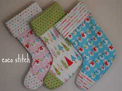 Christmas stocking (coco stitch) Tags: christmas pink blue holiday tree green children snowman decoration gift stocking etsy christmasstocking rileyblake