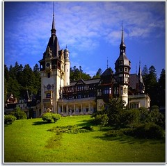 When in ROMania (Nathan Bergeron Photography) Tags: wood trees sky mountains grass architecture clouds geotagged europe spires romania transylvania vignetting easterneurope blueandgreen sinaia neorenaissance carpathianmountains pelescastle pelecastle yearinfrance pelesriver geo:lat=4535984 geo:lon=2554265