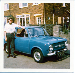 Fiat 850 PLA931E Priory Crescent Ashby Scunthorpe MGS July 1 1969 (photographer695) Tags: classic cars 1969 1 fiat july crescent priory scunthorpe mgs 850 ashby fiat850 pla931e
