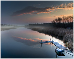 Morning On The River (glness) Tags: mist minnesota misty fog sunrise river dawn dock hdr pelicanlake detroitlakes ottertailcounty justclouds pelicanriver thesuperbmasterpiece canon5dmarkii gregness canonef24105mmf40lis