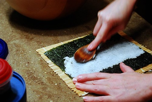 Applying rice to Nori