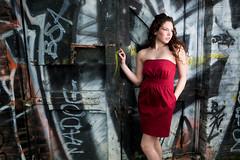 Jen at Train Ave (Benjamin Chodroff) Tags: red abandoned girl graffiti model dress pick