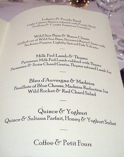 Roussillon - the menu