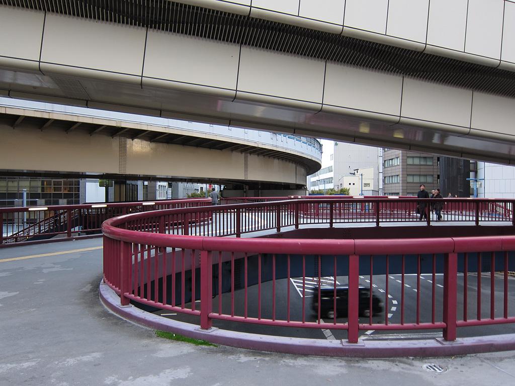 On a pedestrian overpass