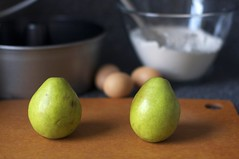 pears, eggs, dry ingredients
