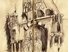 Sagrada Familia, Barcelona (Sue Hodnett) Tags: barcelona abstract painting sketch mixedmedia sketchbook northumberland wash watercolour expressive colourful sagradafamilia penandink allendale hexham suehodnett