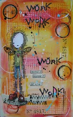 Art Journal - work, work, work (thekathrynwheel) Tags: art moleskine collage rubberstamp artjournal journaling stampotique