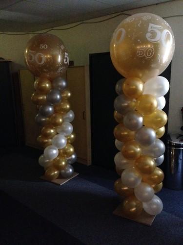 Ballonpilaar Breed Rond Goud Zilver Wit 50 Jaar
