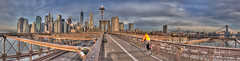 The Morning Commute (ADFitz) Tags: newyork brooklynbridge manhattan bridge cyclist morning worldtradecentre wtc downtown eastriver