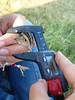 Taking Grasshopper Sparrow (Ammodramus savannarum) measurements (boylelab) Tags: tallgrassprairie fieldwork konza konzaprairiebiologicalprairie kpbs ammodramussavannarum grasshoppersparrow calipers