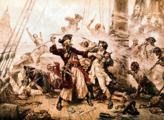 E1397 (dennisrhidalgo) Tags: blackbeard british conflict english europeans fineart group males many people pirateship pirates ship violence visualarts watercraft