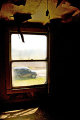 Elemental View (Moonlight Cocktail Photography) Tags: light house abandoned home window bulb honda view ks kansas element secondstory canonxti hangstring neartherailroad