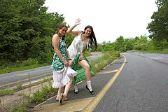 Going Our Way? (Go! Shawn!) Tags: road street girls woman abandoned girl smile yellow female night highway waves hiking pennsylvania lace top leg skirt line pa thigh flip bonita flops hitchhiking females k8 knee ankle showing skirts hitch centrailia