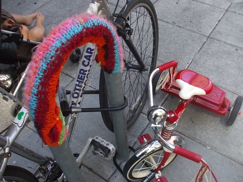 knitting tag on a bike rack by Powell's