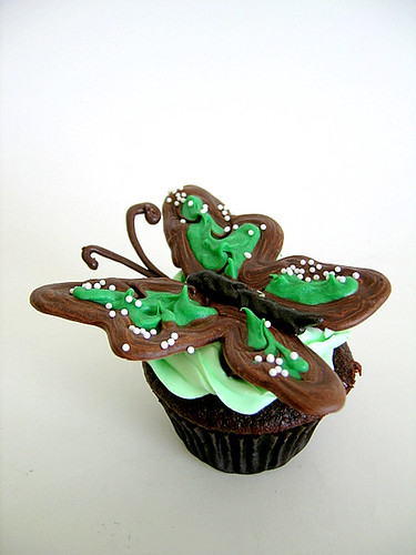 Green Butterfly Cupcakes
