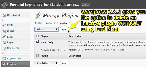 Wordpress 2.8.2 option to delete a plugin