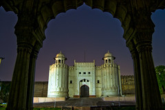 Lahore Fort. (Explored) (Commoner28th) Tags: door blue pakistan sky india history architecture night gate king fort framed royal portal punjab archeology ahmed lahore shahi agha mughal waseem qilla mywinners shahiqilla commoner28th